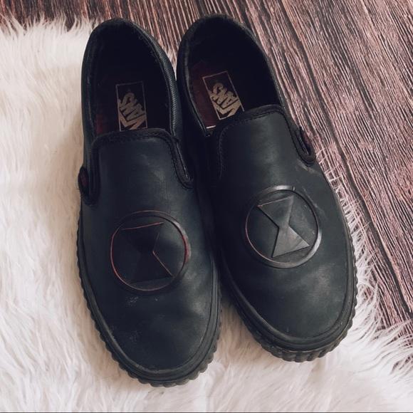 Vans x Marvel Black Widow Leather Slip On Sneakers